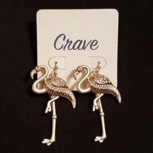Gold Flamingo Earrings